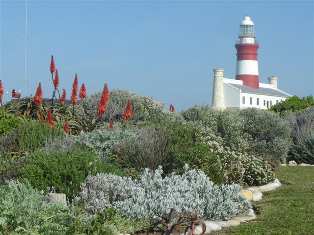 View across garden to the Cape Agulhas Lighthouse